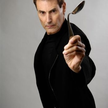 Uri Geller with bent spoon